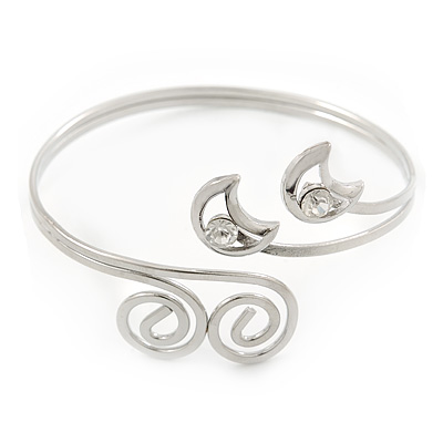 Silver Plated 'Swirl And Crystal Crescent' Upper Arm Bracelet - Adjustable