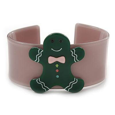 Beige, Dark Green Crystal Acrylic 'Gingerbread Man' Cuff Bracelet - 19cm L