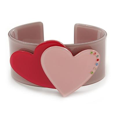 Beige, Pink, Magenta Acrylic, Austrian Crystal Hearts Cuff Bracelet - 19cm L