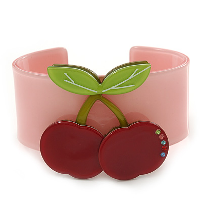 Pink, Light Green, Red Crystal Cherry Acrylic Cuff Bracelet - 19cm L
