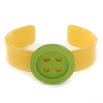 Yellow, Light Green Acrylic Button Cuff Bracelet - 19cm L