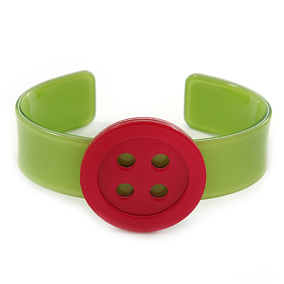 Light Green, Magenta Acrylic Button Cuff Bracelet - 19cm L