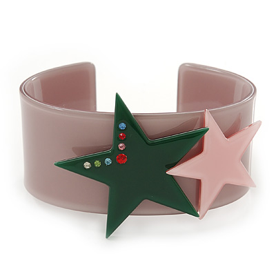 Beige Acrylic Cuff Bracelet With Crystal Double Star Motif (Pink, Dark Green) - 19cm L