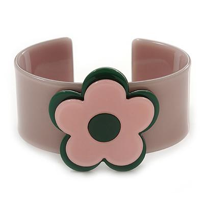 Beige, Light Pink, Dark Green 'Modern Flower' Acrylic Cuff Bracelet - 19cm L
