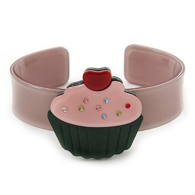 Beige, Light Pink, Dark Green Acrylic, Austrian Crystal Cupcake Cuff Bracelet - 19cm L
