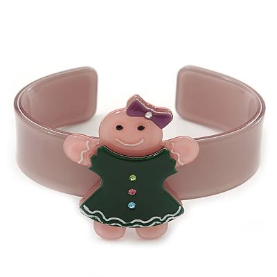 Beige, Pink, Dark Green Crystal Acrylic 'Gingerbread Girl' Cuff Bracelet - 19cm L