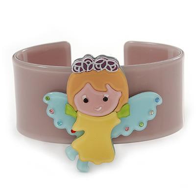 Beige, Yellow, Light Blue, Pink Acrylic, Austrian Crystal Wide Angel Cuff Bracelet - 19cm L
