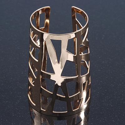 Wide Geometric Egyptian Style Cuff Bangle In Gold Tone - 9cm Width