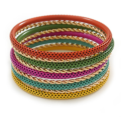 Multicoloured Smooth and Twisted Metal Bangle Set of 9 In Gold Tone - 20cm Length