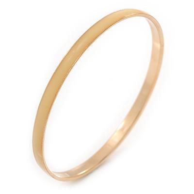 Thin Cream Enamel Bangle Bracelet In Gold Plating - 19cm L