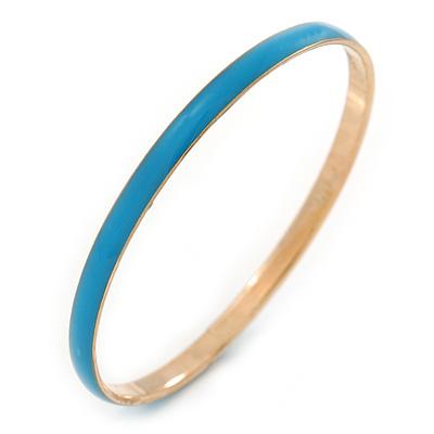 Thin Blue Enamel Bangle Bracelet In Gold Plating - 19cm L