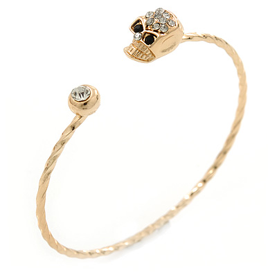 Crystal Skull Thin,Twisted, Gold Plated Cuff Bracelet - Adjustable