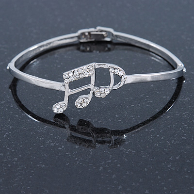 Silver Plated, Crystal Musical Note Bracelet - 17cm L