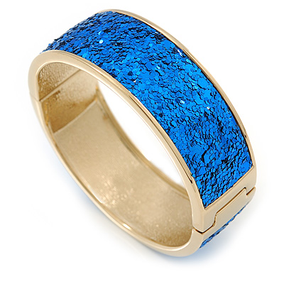 Blue Sequin Disco Magnetic Bangle Bracelet In Gold Plating - 19cm L