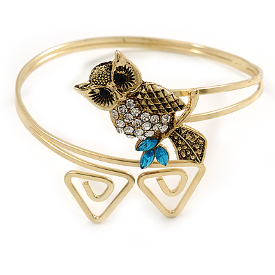 Vintage Inspired Crystal Owl Upper Arm, Armlet Bracelet In Burnt Gold Tone - 27cm L - Adjustable