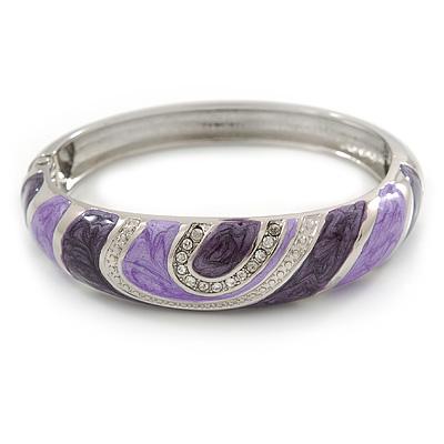 Avalaya Light Cream & Purple Enamel Crystal Heart Hinged Bangle Bracelet (Gold Tone) zLruVwns