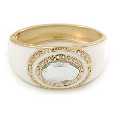 White Enamel Crystal Hinged Bangle Bracelet In Gold Plating - 18cm L