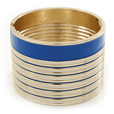 Wide Royal Blue/ White Enamel Stripy Hinged Bangle In Gold Plating - 19cm L