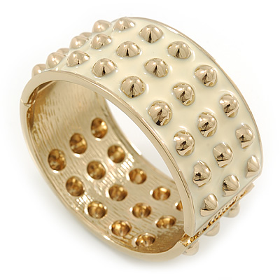 Chunky Milky White Enamel Spiked Hinged Bangle In Gold Plating - 19cm L