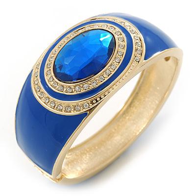 Avalaya Dusty Pink Enamel Crystal Hinged Bangle Bracelet In Gold Plating - 18cm L KHK4wZLvsq