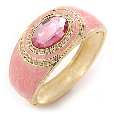 Dusty Pink Enamel Crystal Hinged Bangle Bracelet In Gold Plating - 18cm L