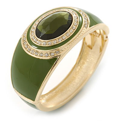 Olive Green Enamel Crystal Hinged Bangle Bracelet In Gold Plating - 18cm L