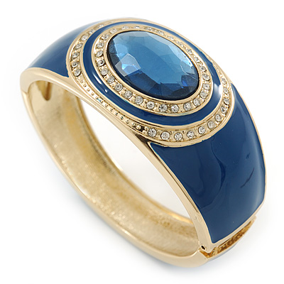 Navy Blue Enamel Crystal Hinged Bangle Bracelet In Gold Plating - 18cm L