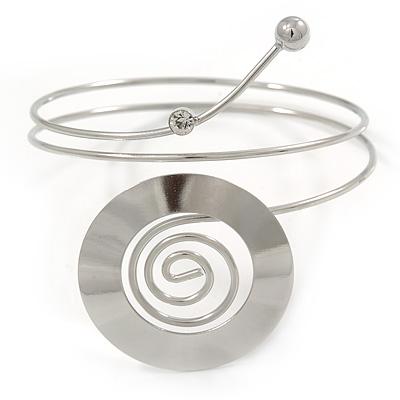 Polished Silver Tone Swirl Disk Upper Arm, Armlet Bracelet - 27cm