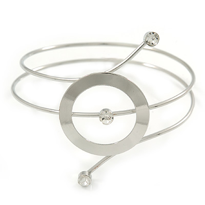 Silver Tone Open Circle Geometric with Clear Accent Upper Arm/ Armlet Bracelet - up to 27cm L
