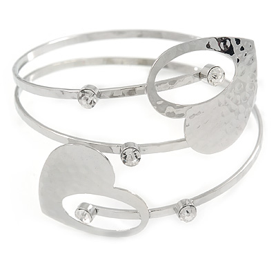 Avalaya Silver Plated Hammered Double Heart Armlet Bangle - Adjustable njuXqlKjX5