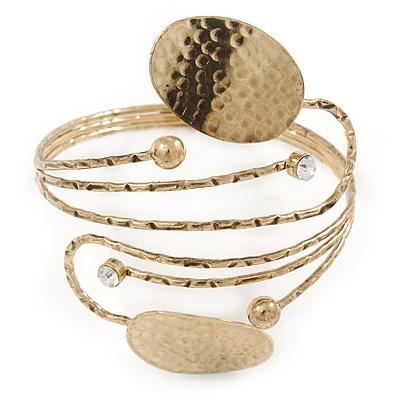 Avalaya Vintage Inspired Hammered 'Leaves' Upper Arm, Armlet Bracelet In Antique Gold Tone - Adjustable