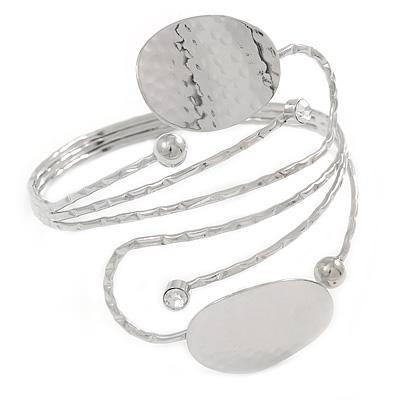 Avalaya Hammered, Crystal Leaf Upper Arm, Armlet Bracelet In Silver Tone - Adjustable