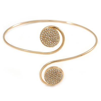 Avalaya Gold Plated Hammered, Crystal Double Heart Armlet Bangle - 28cm L