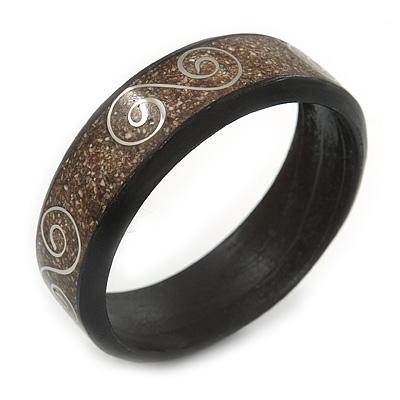 Avalaya Dotted Shell Round Bangle Bracelet (White, Cream) - 20cm L