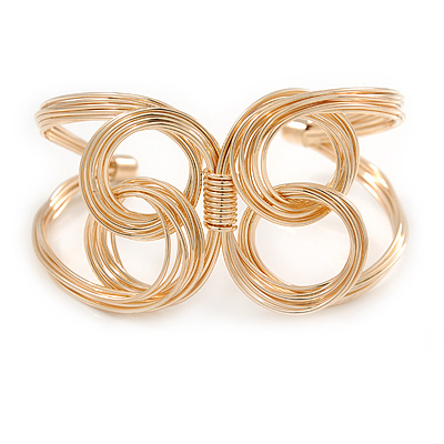 Contemporary Wire Butterfly Cuff Bracelet In Gold Tone - Adjustable