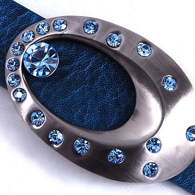 Blue Leather Watch Strap - main view