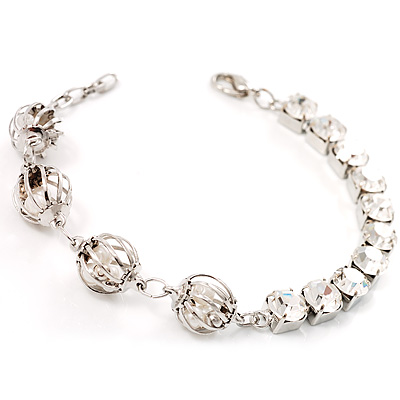 Silver Tone Crystal Kiss Bracelet