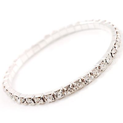 Thin Clear Crystal Flex Bracelet In Silver Plating - up to 17cm length