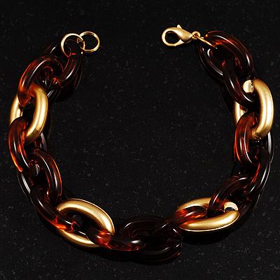 Brown And Gold Plastic Oval Link Costume Bracelet