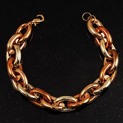 Yellow And Gold Plastic Oval Link Costume Bracelet