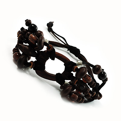 Wood Suede Cord Beaded Bracelet (Black &amp; Brown)
