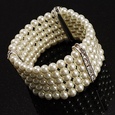 5-Strand Pearl Style Crystal Flex Bracelet (Snow White)