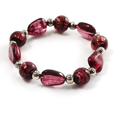 Purple Coloured Flex Glass Bead Bracelet
