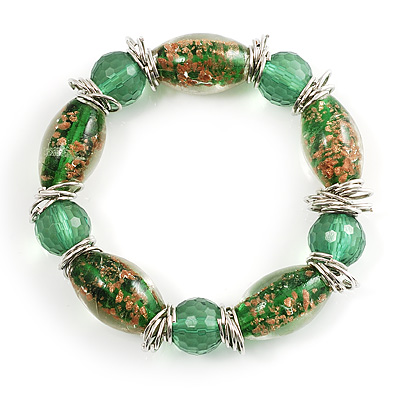 Green Glass Bead Flex Bracelet
