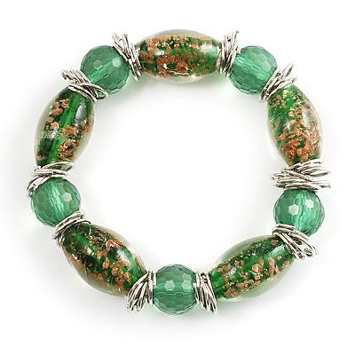 Green Glass Bead Flex Bracelet