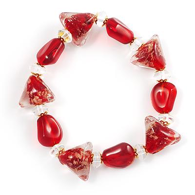 Red Glass Stretch Bracelet