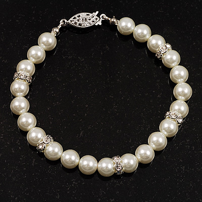 Ivory Pearl Style Classic Crystal Bracelet