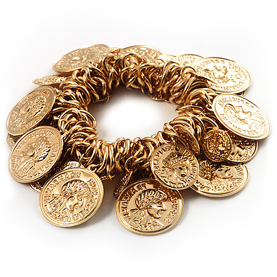 Gold Tone Coin Link Flex Bracelet