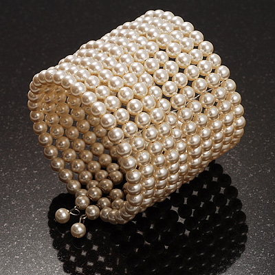 10 Strand Pearl Style Flex Cuff Bracelet (Ivory)