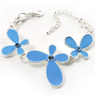 Blue Enamel Floral Bracelet